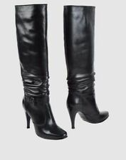 Leather Pull On Slim Heel Boots for Women