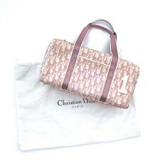 Christian Dior Vintage Small Boston Bag Trotter Monogram Canvas PVC Pink Auth