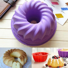 DIY Silicon Bundt Pan Savarin Cake Tin Mould Nonstick Bakeware Baking Ring Tools
