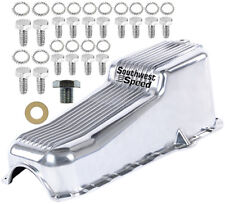 NEW 86-02 SMALL BLOCK CHEVY FINNED OIL PAN,POLISHED,RIGHT SIDE DIPSTICK,262-350