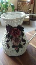 Vintage French White Wicker Floral Display Basket China Flowers Rustic Country
