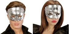 Silver Disco Glitter Mirror Ball Eye Mask Masked Masquerade Ball Fancy Dress