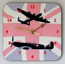 Square Wall Clock – Spitfire & Lancaster on Union Flag - Size 19cm by 19cm