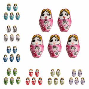 10Pcs Porcelain Ceramics Russian Nesting Doll Loose Beads 2.2mm Hole 22x13mm