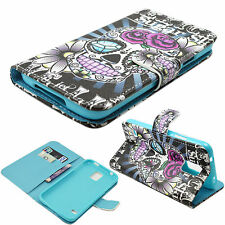 Skull Flip Stand PU Leather ID Card Slots Cover Case For Samsung Galaxy S5 i9600