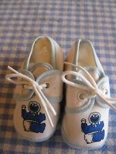 Baby Cookie Monster White Cotton with Blue Trim & Shoe Laces Infant Soft Shoes