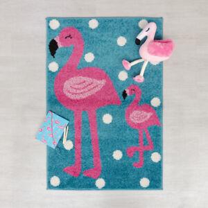 Flair Rugs Play Days Kiddy Flamingo Rug, Pink/Blue, 80 x 120 Cm