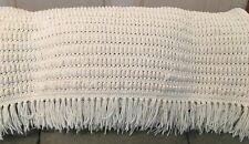 """White crocheted afghan handmade heavy lap throw blanket fringe popcorn 40""""x52"""""""