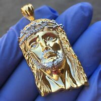 14K Gold Plated Real 925 Sterling Silver Jesus Head Pendant Charm Handmade Italy