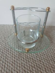 Glass Metal Toothbrush Toothpaste Stand With Tumbler great quality