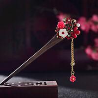 Women Vintage Chinese Crystal Chopsticks Wooden Hair Stick Hairpin Chain Flower