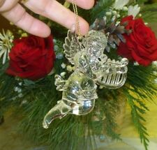 Vtg Lucite Cherub Guardian ANGEL Christmas Figurine Harp LYRE Ornament TAIWAN