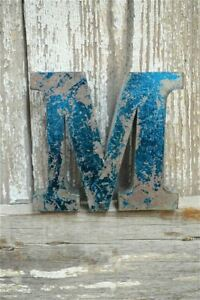 FANTASTIC VINTAGE STYLE METAL 3D BLUE M LETTER FONT SHOP SIGN WALL PLAQUE
