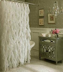 "Shower Curtain Ruffled Gypsy Boho Teired 70"" x 72"" Ivory Country Farmhouse"