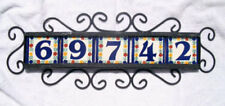 5 Mexican 4x4 House Numbers Tiles with Iron Frame