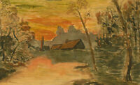 20th Century Watercolour - Landscape with Summer Sunset