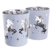 Einhorn Teelicht Halter Gläser 2er Set Deko Windlichter Kerzen magisch 7cm NEU