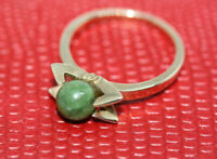 Vintage Chinese Women's Nephrite Jade 6 MM Ball 10 K Solid Yellow Gold Ring Sz 6