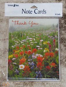 LEANIN TREE Wild Flowers in Meadow Scene-Thank You~#35485 Pk 8 Notecards