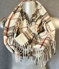 "Lord& Taylor Infinity Scarf Plaid Ivory Fringe 9""* 70"" Acrylic Made In Germany"