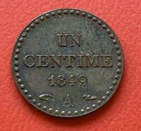 1849 A - France - 1 Centime - Un Centime - French Coin F# 101/3 Gad# 84, KM# 75