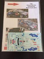 DECALS 1/43 CITROEN DS3 R3 CHARDONNET RALLYE MONTE CARLO 2013 RALLY WRC