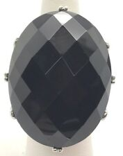 Sterling Silver Huge Heavy Faceted Oval Black Onyx Chunky Statement Ring Sz 7.25