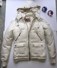 Juicy Couture Puffer Jacket Cream $498 Hooded Down Coat Size S AUTH 🤩🤩