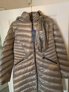 LADIES ANDREW MARC Gold  NYLON AND FEATHER FILLING PUFFER COAT SIZE Large