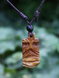 Halskette Tiki Anhänger Horn Schmuck Lederkette Ethno Kette Maori Anhänger Moai