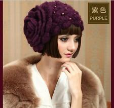 Winter Women/Lady Knitted Flowers Beaded Beret Hat For Wedding Party Formal Hats