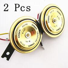 2 X Waterproof Golden Metal Advanced Automotive Electronic Compact Horn Speakers