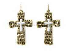 5030030 Serenity Prayer Earrings Christian 12 Step AA One Day At A Time