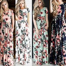 Women Floral Print Short Sleeve Boho Dress Ladies Evening Party Prom Long Dress