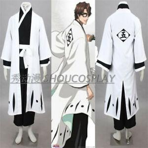 Japan Bleach 5th Team Aizen Sousuke Captain Kimono Costume Uniform Suit Cosplay