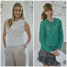KNITTING PATTERN Girls/Ladies Round Neck Lacy Jumper & Top Opium King Cole 4182