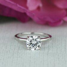 2.00 Ct VVS1 Round Diamond Engagement Wedding Ring White Gold Finish Size J K L