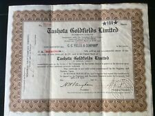 Tashota Goldfields stock certificate No. 2268, 100 shares, 1935 Ontario