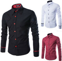 Cotton Men's Slim Shirts Plaid Design Long Sleeve Casual T-Shirt Tops