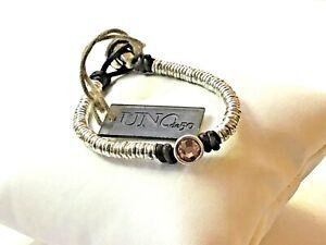 NWT Uno de 50 Silver-plated Disks Bracelet w/ Rose Pink Crystal