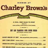 Vintage 1960s Charley Brown's Dinner Menu Southern California