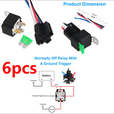 6Pcs Car Relay Switch Harness Set-12V 4PIN SPST 30AMP Fuse Holder 14AWG Hot Wire