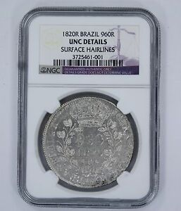 1820R BRAZIL 960R UNC DETAILS SURFACE HAIRLINES - NGC