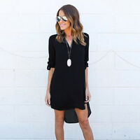 Ladies Womens Chiffon Long Sleeve Loose Casual Blouse Top Shirt Tunic Mini Dress
