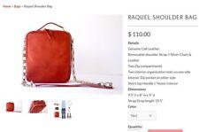 Simona Calla Red Calf Leather Raquel Shoulder Bag Chain Strap $110