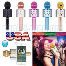 WS858 Wireless Bluetooth Microphone Karaoke KTV Handheld Mic USB Speaker Player@