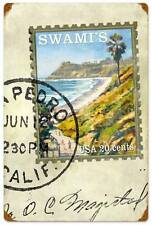 Postage Stamp Swami Beach Waves Ocean Koniakowsky Metal Sign Wall Decor WADE029