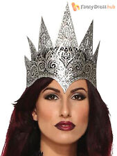 Ladies Dark Royalty Evil Queen Crown Adults Lace Halloween Fancy Dress Accessory