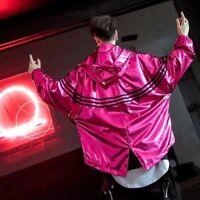 Mens Shinny Hooded Fashion Hip-hop Loose Leisure Street Solid Jackets Outwaer SZ