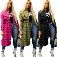 Women Long Sleeve Zippered Casual Ruffled Mesh Sheer Patchwork Long Jacket Coat